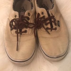 Tan vans with brown leather pieces